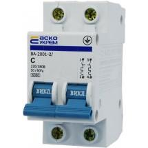 Автоматический выключатель Укрем ВА-2001 2р 20А С 6кА AcKo 2-полюсный A0010010030