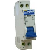 Автоматический выключатель Укрем ВА-2002 (1+N) 25А С 6кА AcKo 2-полюсный A0010020005
