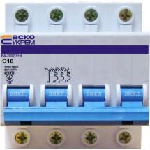 Автоматический выключатель Укрем ВА-2002 4п (3+N) 16А C 6кА Аско 4-полюсный