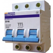 Автоматический выключатель Укрем ВА-2006 3р 10А D 6кА АсКо 3-полюсный A0010060021