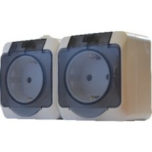 Блок - две розетки Z 2Р+РЕ с прозрачной крышкою 2Р316-3-ІP44N накладной белый цвет Укрем АсКо