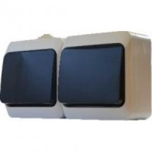 Блок из 2-х одноклавишных выключателей 2В310-1-IP44N  наружный белый АСКО