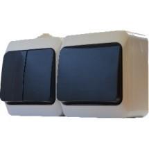 Блок из 2-х выключателей 1кл + 2кл  2В310-1-2-IP44N  наружный белый АСКО
