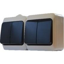 Блок на два 2-клавишных выключателя 2В310-2-IP44N наружный белый АСКО