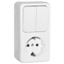 Розетка с з/к + выключатель 2кл SVEN SE-65351 белый