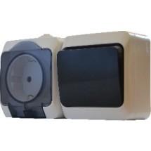 Блок розетка + выключатель 2Р316-3-В3-1-IP44N наружный АСКО