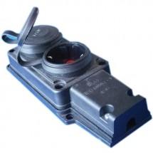 Колодка | кассета 2 гнезда Z с заземлением F-222 FETIH для электро удлинителя каучук