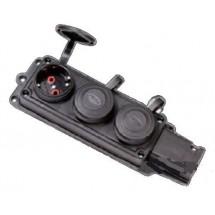 Колодка | кассета 3 гнезда Z с заземлением F-223 FETIH для электро удлинителя каучук