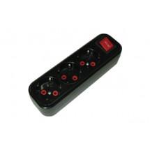 Колодка  кассета El-bi Deniz 3 гнезда ZW (с заземлением  выключателем) черная 506-040300-302 16А 250V для электро удлинителя