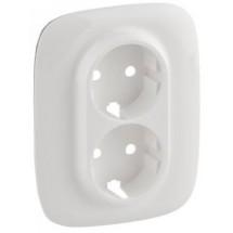 Накладка розетки 2-двойной с заземлением ALLURE 754955 белая