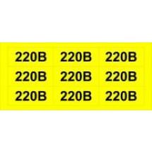 Наклейка обозначение напряжения 220В (размер 34х17мм, самоклейка)