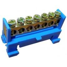 Нулевая шина с изолятором на Din -рейку S.P084 6x9 7 отверстий Укрем АсКо A0150150032