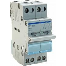 Переключатель ввода резерваSFT225 (SF219G) Hager трехпозиционный 230В/25А , 2-полюсный, 2м