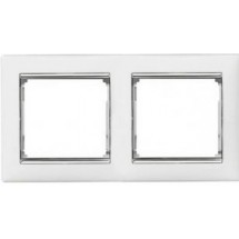 Рамка 2-кратная Valena 770492 белая / серебро