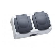Розетка 2- двойная MAKEL 36064201 Nemliyer Plus IP55+ с Z заземлением и крышкой серый цвет
