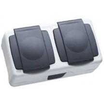 Розетка 2- двойная MAKEL 36064201 Nemliyer Plus IP55 с Z заземлением и крышкой накладная серый цвет