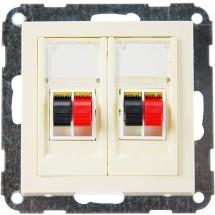 Розетка аудио 2-двойная Fiorena белая Hager / Polo белый цвет для колонок