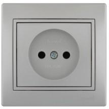 Розетка MIRA 701-1010-121В серый металлик
