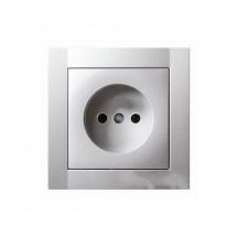 Розетка без заземления Hager / Polo Fiorena металлик-matt (винт) 22003019 16А ~ 250V