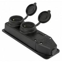 Розетка двойная с защитной крышкой каучуковая e.socket.rubber.029.2.16, с з/к, 16А E.NEXT s9100026