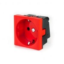 Розетка электрическая.45х45 модульная красная КО145-2