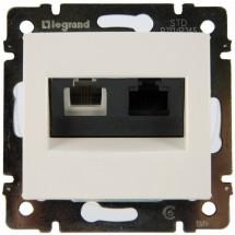 Розетка компьютер+телефон RJ45 CAT6e UTP+RJ11 Legrand Valena 770080 белый цвет