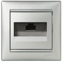 Розетка компьютерная 1-одинарная 1хRJ45 CAT5е Legrand Valena 770238 алюминий