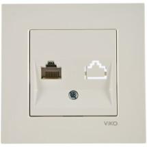 Розетка компьютерная PC 1-одинарная 1хRJ45 CAT5е Viko Karre 90561032 белый цвет