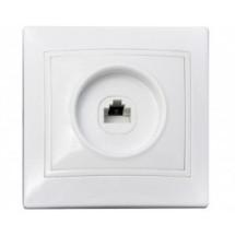 Розетка компьютерная 1-одинарная РВcomсб-1-FI-W белый цвет Укрем АсКо