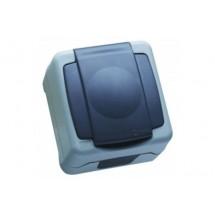 Розетка MAKEL Nemliyer Plus IP55+ с Z заземлением и крышкой 36064029 серый цвет
