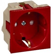 Розетка с заземлением и шторками 16А 250В W45 RN16-113-K SCHNEIDER ELECTRIC красная, для кабель канала