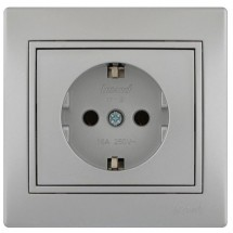 Розетка с  з/к MIRA 701-1010-122В серый металлик