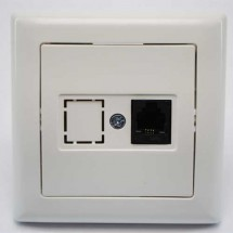 Розетка ТF телефонная 1-одинарная 1хRJ12 белый цвет 2100-125-0101 GES