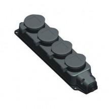Розетка 4-я с заземлением каучук накладная 16А LEZARD 106-0400-107