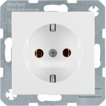 Розетка Z с заземлением Berker R.1/R.3 47432089 полярная белизна 16А/250В
