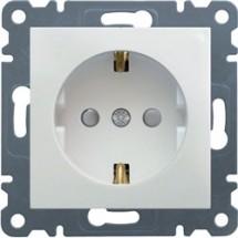Розетка Z с заземлением и защитными шторками HAGER LUMINA-2 WL1060 белый цвет