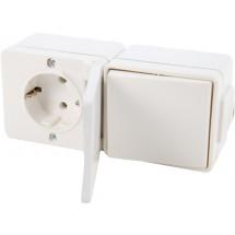 Розетка Z с заземлением с крышкой и выключатель универсальный Hermetica белый 16002702 Polo / Hager