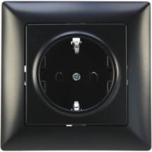 Розетка с заземлением и защитными шторками черная Visage 1283400100116