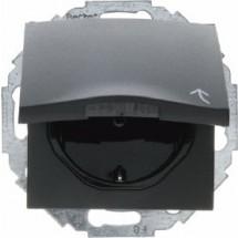 Розетка Z с заземлением  защитными шторками  крышкой 16А250В Berker 47441606 антрацит  безвинтовые зажимы