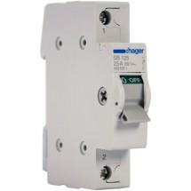 Выключатель нагрузки Hager I-0 ~230В / 25А 1м SB 125 | Рубильник разрывной Hager I-0 ~230В / 25А 1м SB 125 1-полюсный