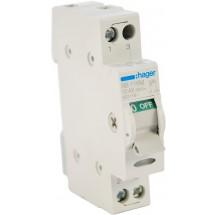 Выключатель нагрузки Hager I-0 ~230В / 16А с индикацией 1м SB 116М | Рубильник разрывной Hager I-0 ~230В / 16А с индикацией 1м SB 116М 1-полюсный