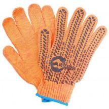 Рукавицы рабочие с вкраплениями ПВХ платировка оранжевый  синий цвет 152