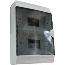 Корпус на 16 автоматов пластмассовый наружный белого цвета с дымчатой дверцей GUNSAN Visage