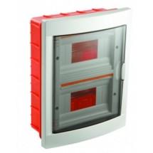 Корпус на 16 автоматов 2-ярусный пластмассовый внутренний белого цвета с дымчатой дверцей GUNSAN Visage