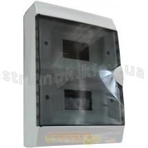 Корпус на 16 автоматов пластмассовый наружной установки белого цвета с дымчатой дверцей GUNSAN Visage
