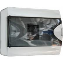 Корпус на 6 автоматов пластмассовый наружный белого цвета с дымчатой дверцей GUNSAN Visage