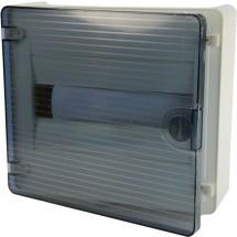 Щит пластиковый на 12 модулей накладной с прозрачной дверцей (1х12) GOLF VS112TD