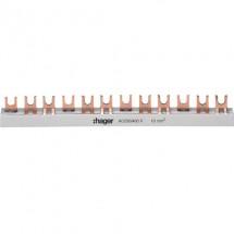 Шина Hager KDN363 B соединительная 3L-57мод /10 мм вилочная 3-полюсная