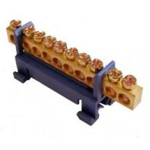 Шина нулевая с изолятором на Din-рейку ВС-510 6x9 10 отверстий Укрем Аско A0150120034