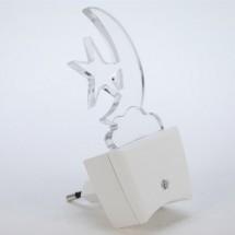 Светильник светодиодный Led : ночник - ЛУНА (включение в розетку) 1Вт MULTICOLOR